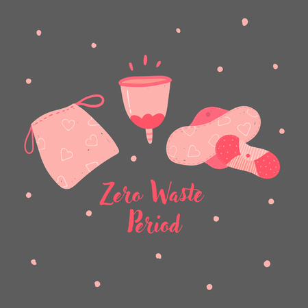 Zero waste menstrual cup and reusable pads for hygiene cycle. Woman underwea eco friendly tampons, silicon economical recycle cup for gathering blood. No to plastic and pollution. Vector illustration
