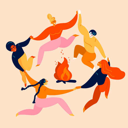 Dancing party and jumps  with bonfire. Group of young diversity man and woman are holding their hands in circle around campfire. Kupala festival, leisure and tourism activity.  Vector flat Banco de Imagens - 122680112