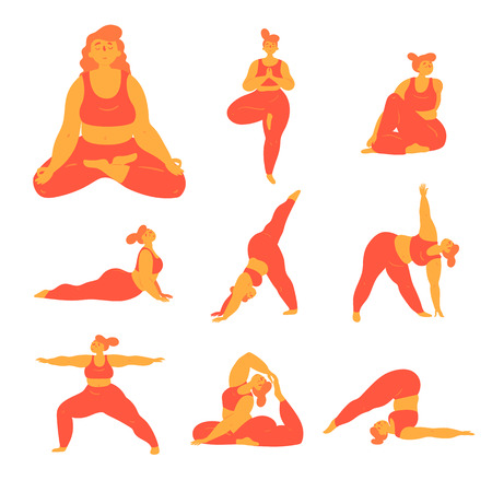 Body positive woman doing yoga poses. Slightly overweight girl doing different asana exercises for stretching, body and mental health. Healthy lifestyle for everybody concept. Plus  size model. Flat