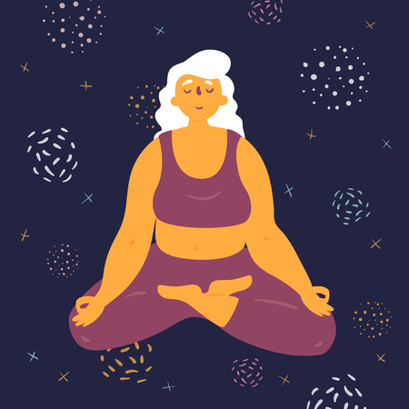 Body positive woman in lotus pose. Plus size model makes asana in the space. Young girl crossed her legs and meditated. Zen relaxation.  How to do yoga exercise. Flat vector illustration