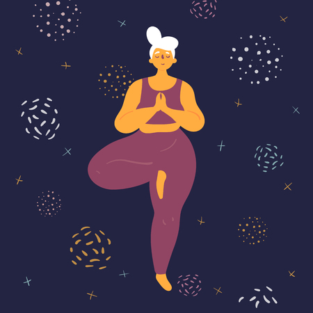 Body positive woman doing tridasana yoga. Plus size model makes asana in the space. Young girl stands on one leg.  Zen relaxation. How to do certain exercise. Flat vector illustration Ilustração