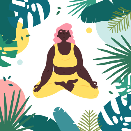 African american woman in lotus yoga position. Body positive girl with black skin meditates and relax in tropical surrounding.  Female in harmony with herself, mental and body health. Vector flat