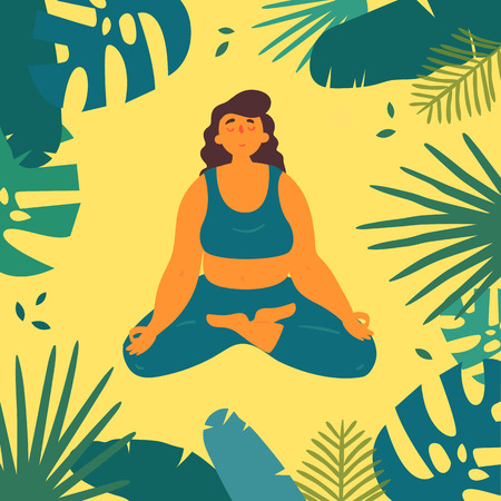 Woman in lotus ardha padmasana asana yoga position. Body positive girl skin meditates and relax in tropics and sand.  Female in harmony with herself, mental and body health. Vector flat
