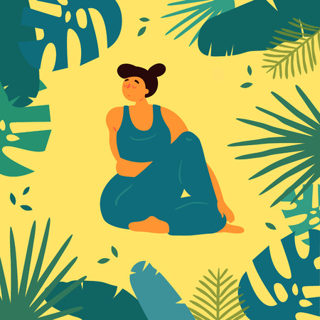 Woman in upavistha parivrttasana asana yoga position. Body positive plus size white girl twists arms and legs in tropics.  Female in harmony with herself, mental, body health. Vector flat