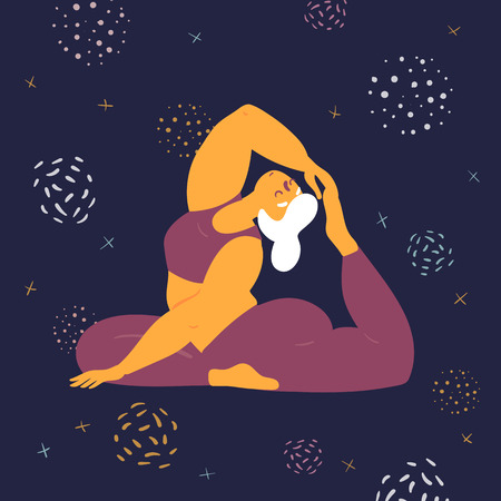 Body positive woman in king pigeon rajakapotasana yoga asana pose. Plus size model makes asana in the space. Young girl pulls her leg up to her leg.  Zen relaxation. How to do certain exercise. Flat Ilustração