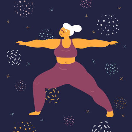 Body positive woman in warrior virabhadrasana asana yoga pose. Plus size model makes asana in the space. Young girl stands firmly on both legs.  Zen relaxation. How to do certain exercise. Flat vector Banco de Imagens - 122680128