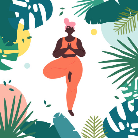 Woman in vrksasana asana yoga tree position. Body positive african american girl stands on one leg and rest in tropics.  Female in harmony with herself, mental and body health. Vector flat