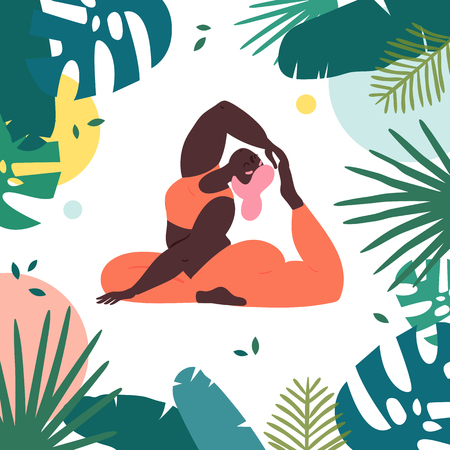 Woman in king pigeon rajakapotasana asana yoga position. Body positive plus size girl pulls her leg to the head in tropics.  Female in harmony with herself, mental and body health. Vector flat