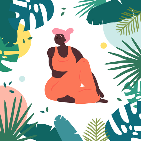 Woman in upavistha parivrttasana asana yoga position. Body positive plus size african american girl twists arms and legs in tropics.  Female in harmony with herself, mental, body health. Vector flat