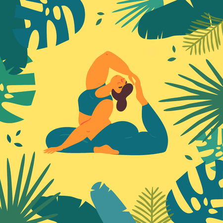 Woman in king pigeon rajakapotasana asana yoga position. Body positive plus size girl pulls her leg to the head in tropics.  Female in harmony with herself, mental and body health. Vector flat Banco de Imagens - 122680240