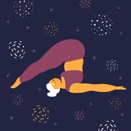 Body positive woman doing asana halasana yoga. Plus size model makes asana in the space. Young girl threw her legs behind her head.  Zen relaxation. How to do certain exercise. Flat vector Ilustração