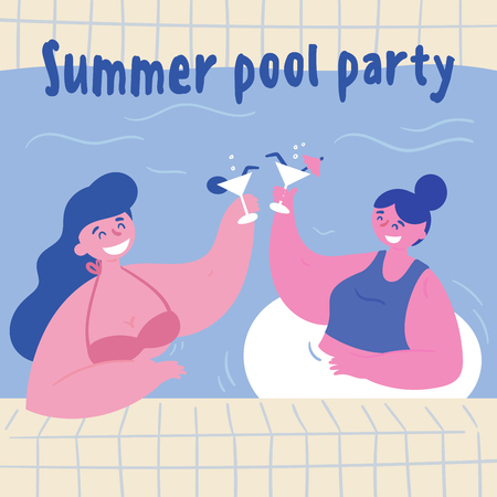 Summer pool party. Women with alcohol coktails in the swimming pool. Two young girls in bikini, swimsuit and inflatable circle are drinking in the water.  Two friends at vacation.  Flat cartoon style Banque d'images - 122680242