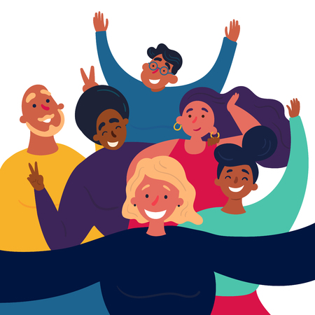 Girl is making funny selfie group picture. Female and male friends are posing for group selfshot photography.  Caption of happy and cheerful man and women with peace signs. on selfieparty. Vector flat Banco de Imagens - 122680243