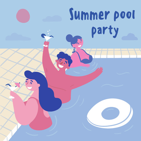 Summer pool cocktail party. Women and man with alcohol in the swimming pool with inflatable circle. Young girls in bikini, swimsuit, one guy are drinking in the water.  Three friends.  Flat cartoon Banco de Imagens - 125586279