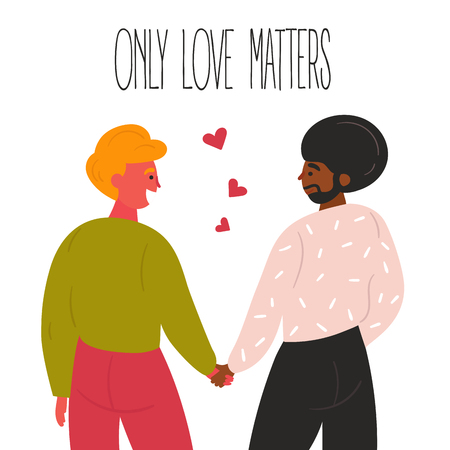 Lgbt or lgbtq gay men couple. Two guys are holding their hands. Only love matters text and red hearts. Make love  concept. Happy smiling homosexual people enjoy togetherness. Flat vector style Ilustração
