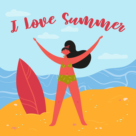 I love summer quote. Girl surfer stands on the sand near the sea, ready for summer waves. Hand lettering. Perfect young woman in bikini with stretched arms towards sun and adventures. Vector flat Banco de Imagens - 125586285