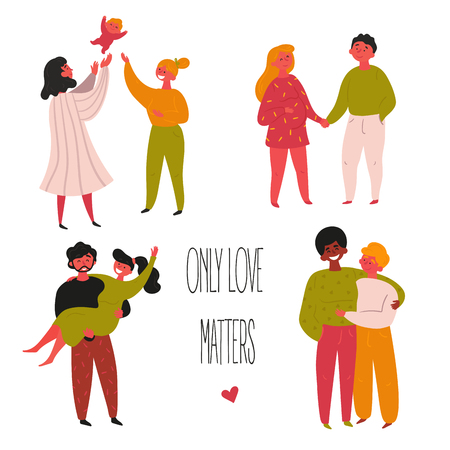 Gay, Lesbian, lgbt family couples. Only love matters quote text. Homosexual and heterosexual man and woman standing and hugging. Couple with baby. They are happy and holding hands. Vector cartoon