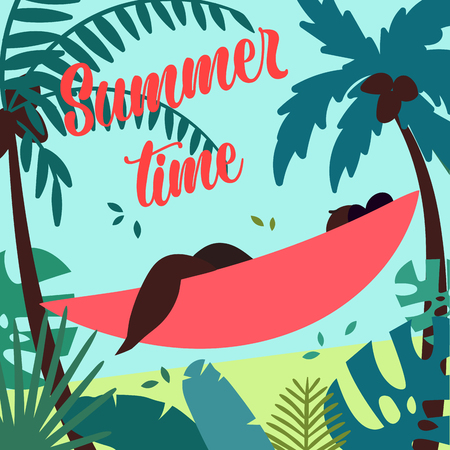 Summer time. Girl in hammock is summer ready. Young black african american woman, tied to a tree, relax near the seaside in tropics.  Sea, sand, tropical leaves and palms on backround. Vector flat