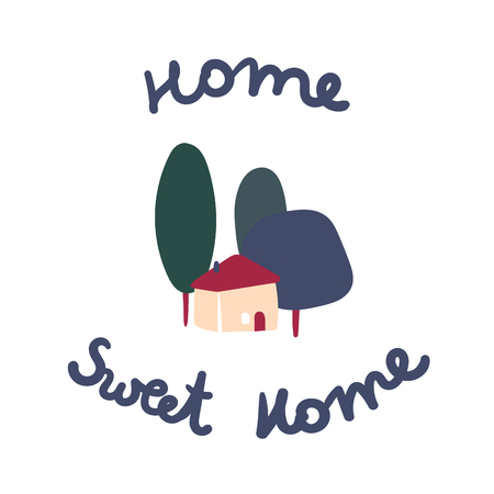 Home Sweet Home typography poster. Dormat or welcome sign. Simple italian villa house, green trees and hand drawn lettering, all isolated on white. Vector flat ilustration.