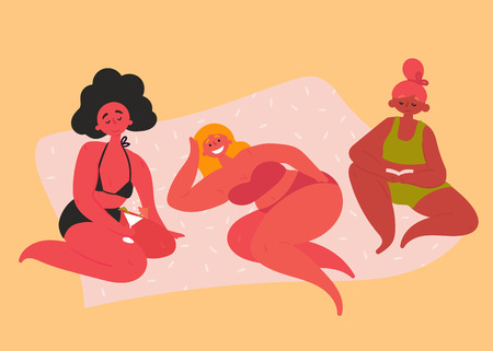 Summer ready women are taking sun bath. Three smiling and happy woman lying on beach, tanning in the sun and drinking cocktails. Girls in bikini near the seaside on hot sand. Vector flat cartoon style Ilustração