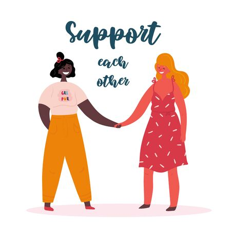 Support each other. Grl pwr. Two young women or girls standing together and holding hands. Group of friends or feminist activists. Feminism, strong woman concept, girl power. Multi-ethnic group. Flat Banco de Imagens - 125586302