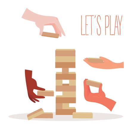 Tower balance game. Wooden stack block toy. Different positions. Hands with separate pieces of blocky, risk game. Vector illustration isolated on white background. Ilustração