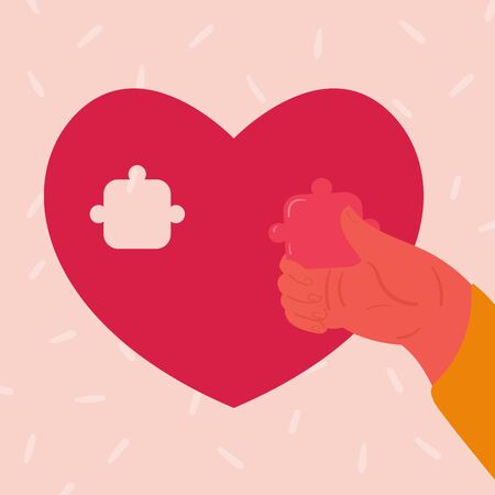Heart shaped puzzle. Woman hand inserts small puzzle piece. Concept of broken and restored love. Flat vector illustration