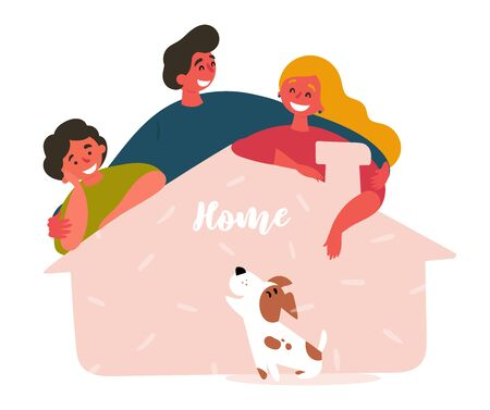 Family adopts dog from shelter house. Friends saved, rescued lovely puppy and gave him new home. Two man, woman and pet. Vector flat cartoon illustration