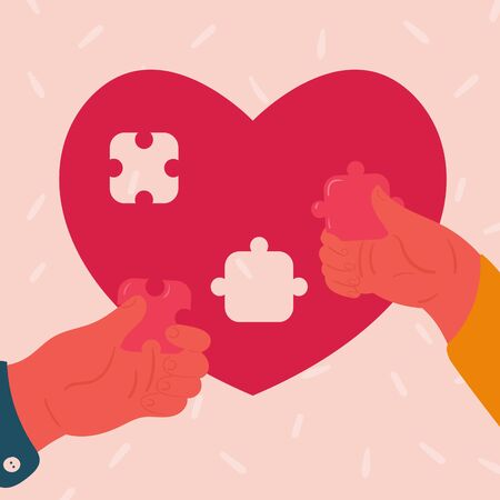 Man and woman insert small pieces of puzle into heart shaped puzzle. Concept of understanding. Young couple builds their realtionships. Concept. Vector flat cartoon illustration. Valentines day poster
