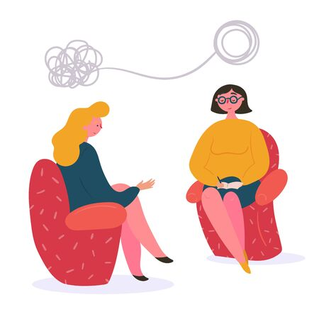 Woman on the couch at the therapist psychologists session. Young lady has conversation therapy with family or relationship mental specialist. Speak and solve out your problems. Flat illustration