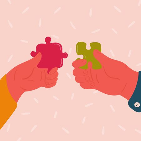 Man and woman hand with puzzle. Male and female couple hold small piece of puzzle in their fingers, pointing towards each other. Idea concept of helathy relationships. Vector flat illustration Ilustração