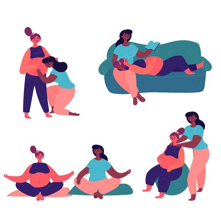 A cute couple of lesbians cares about one another . An African American woman with her pregnant girlfriend spend time doing yoga, reading books and preparing for childbirth.