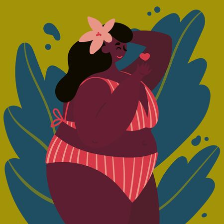 A young Haitian confident woman stands in a swimsuit. Happy plus size girl with a flower behind her ear sends an air kiss. Tropical background. Flat.