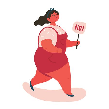 A black-haired woman protested holding a sign with the words no. Stop domestic violence and crime against females. No means no concept, stop here. Vector flat, banners and posters
