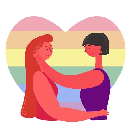 Loving couple of lesbians hugging each other against the LGBT flag background. The two girls are happy together,first girl hugs her girlfriend, and the brunette strokes her face.Equality.Pride.Flat
