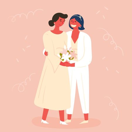 Wedding day, two brides. Marriage of lesbian couples. Two happy brides love each other, one in a wedding dress, and the other in a suit. Happy homosexual family. Vector illustration, card, flat Banco de Imagens - 128059016