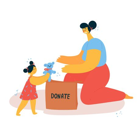 A woman and her daughter sort things and put them into a donation box. The child donates toys for charity. Minimalistic lifestyle concept.Conscious consumption. Vector illustration.