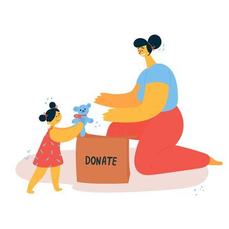 Une femme et sa fille trient des objets et les mettent dans une boîte de dons. L'enfant donne des jouets pour la charité. Concept de style de vie minimaliste. Consommation consciente. Illustration vectorielle.