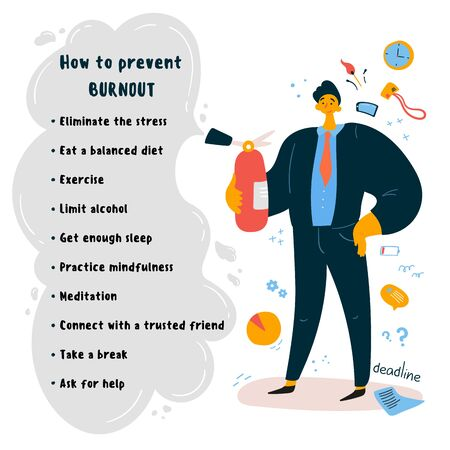 Emotional burnout concept.A man office worker, boss stands with a fire extinguisher near the tips on how to prevent emotional burnout.Office related items on the background.Vector illustration. Illustration