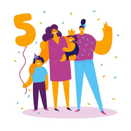 Homosexual female lgbt family.Two moms with son and daughter celebrate birthday.Gay couple with children. Two women with boy and girl.Non-traditional family.Son celebrating his fifth birthday.Vector