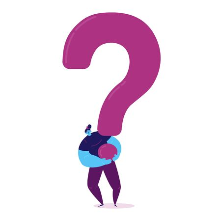 Sad tired woman carrying a huge question mark to find ways to solve the problem, the concept of life difficulties. The woman with problems. Vector illustration Ilustração