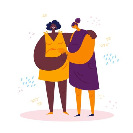Homosexual female lgbt couple. A woman hugs her pregnant african american wife.Two gay women rejoice that they will have a baby.They hold onto the belly of a pregnant one.Non-traditional family.Vector Stock Illustratie