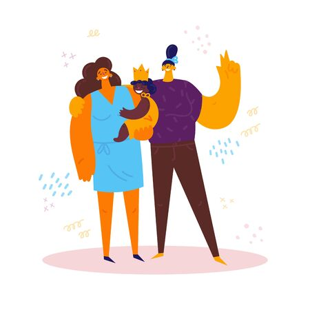 Homosexual female lgbt family.Two moms with african american daughter.Gay couple hold the baby. Two women with baby. Gay parents. Non-traditional family.Foster child.Vector Illustration