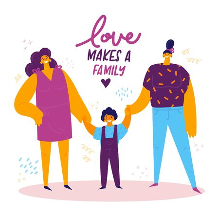 Homosexual female lgbt family.Two happy moms with son holding hands.Gay couple with child. Two women with boy. Non-traditional family. Love makes a family concept. Vector illustration