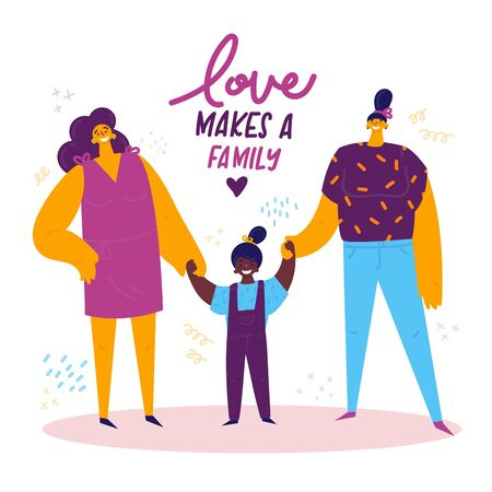 Homosexual female lgbt family.Two happy moms with african american daughter holding hands.Gay parents with adopted child.Non-traditional family.Love makes a family concept.Gay parents.Vector