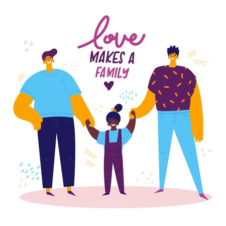 Homosexual male lgbt family.Two happy men with african american daughter holding hands.Gay couple with adopted child.Non-traditional family. Gay parents.Love makes a family concept.Vector illustration