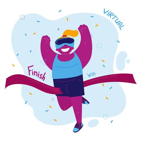 VR.Happy girl runs a marathon in virtual reality wearing vr glasses. Sports in virtual reality. The teen plays a game of virtual reality and wins the run up to the finish line.Vector illustration Ilustração