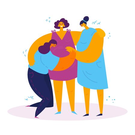 Homosexual female couple with a pregnant surrogate mother.Two women rejoice that they will have a baby.They hold onto the belly of a pregnant surrogate mother.Non-traditional family.Vector