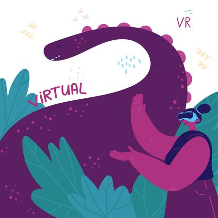 VR.Young woman in virtual reality glasses presents game in which you can look at dinosaurs.A woman has the experience of using virtual reality for education and entertainment.Vector illustration Illustration
