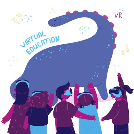 VR excursion.A group of excited children looking at a dinosaur in virtual reality wearing virtual reality goggles.Kids play and learn.Using virtual reality for education. Vector illustration. Ilustração